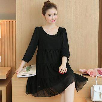 Harga Small Wow Maternity Daily Round Solid Color chiffon Above Knee Dress Black - intl