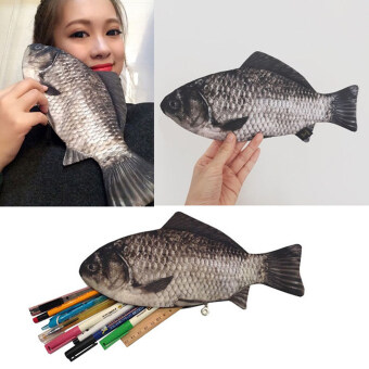 Harga Silver Carp Real Fish-Like Zipper Pen & Make-Up Pouch Pencil Case Funny Rare (Intl) - intl