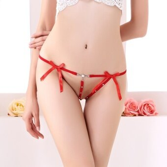 Harga Color Red Sexy lace underwear lady Thong Panties waist hollow thong underwear temptation Perspective 0118