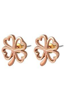 Harga Fancyqube 1Pair Mini Gold Alloy Hollow Lucky Four Leaf Clover Earrings Ear Stud Gold+Pink