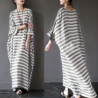 Harga ZANZEA Autumn Dress Women Striped Dress Casual Loose O Neck Batwing Sleeve Maxi Long Dresses Vestidos Plus Size - intl