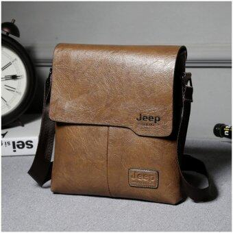 Harga Jeep Cowhide Leather Crossbody Bag casual package travel Shoulder Bag Men Business Messenger (Khaki) - intl
