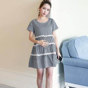 Harga Small Wow Maternity Fashion Round Stitching Contrast Color Cotton Above Knee Dress Black - intl