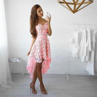 Harga YingWei Korean Fashion Hollow Lace Sleeveless Dress Cami Dress Slip Dress Luxury Dinner Dress (Pink) - intl