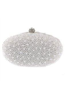 Harga Goose Egg Shaped Pearls Beaded Women's Bridal Clutch Bag Handbag Evening Bag with Metal Handle White