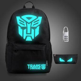 Harga 3PCS/SET Glow in the Dark Night Light School Bag Travel Luminous Backpack (Big Tranks) - intl