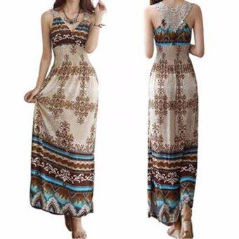 Harga Women Dress Floral V-Neck Beach Bohemian Maxi Dress Long Dress - intl