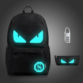 Harga 3PCS/SET Glow in the Dark Night Light School Bag Travel Luminous Backpack (Big Devil)