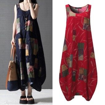 Harga ZANZEA Vestidos Summer Women Vintage Print Dress O Neck Lantern Sleeveless Long Maxi Dresses Loose Casual Dress (Red) - intl