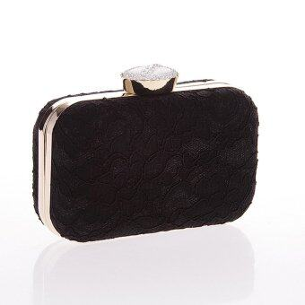Harga Fashion Female Lace Bag Dinner Party Handbag Black (Intl)