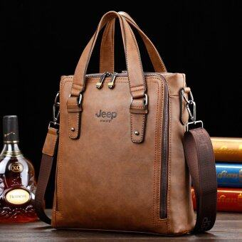 Harga Men's Cowhide Leather Portable Handbags Jeep Business Men Leisure Shoulder Bag Vertical Briefcase Large Capacity Tote (Coffee) - intl