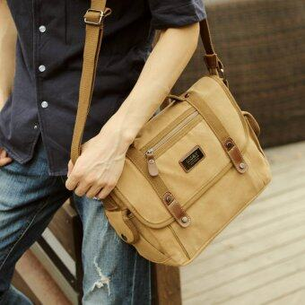 Harga Outdoor Canvas Big Capacity Men Business Leisure Crossbody Bag Shoulder Bag Messenger Bag Hand Bag Satchel Bag for iPad (Khaki) - intl