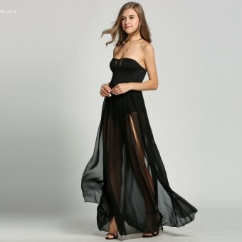 Harga Sexy Women Strapless Empire Waist Chiffon Maxi Long Dress - intl