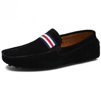 Harga KAILIJIE Men's Casual Suede Leather Boat Shoes Driving Moccasins Slip-On Loafers (Black)