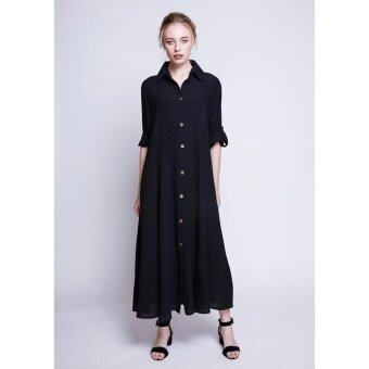 Harga Black Chiffon Maxi Shirt Dress
