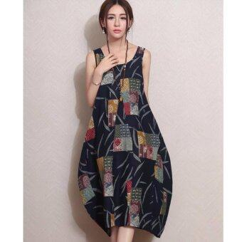 Harga Womens Long Maxi Dress Casual Floral Linen Dress Sleeveless O-neck Plus Size - intl