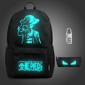 Harga 3PCS/SET Glow in the Dark Night Light School Bag Travel Luminous Backpack (Big Anime) - intl