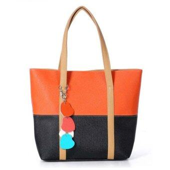 Harga Fashion Bag กระเป๋าแฟชั่น กระเป๋า Big Canvas bag Rainbow Fashion Women Bag ?Brown/Black?