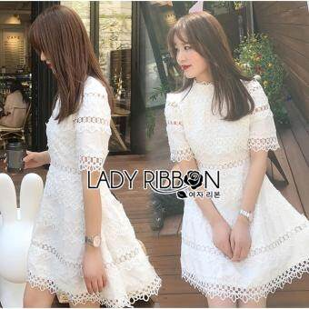 Harga Elisa Thailand เสื้อผ้าแฟชั่นสไตล์เกาหลี Lady Ribbon Lady Caitlyn Casual Chic Lace and Cotton Embroidered Dress