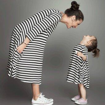 Harga Cotton Children Girl Dress Family Fitted Long Sleeve Striped Family Matching Clothes Outfits (Black) - intl