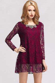 Harga Jo.In Korean Stylish Lady Women's Long Sleeve Floral Lace Casual Mini Dress (Wine Red)