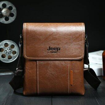 Harga JEEP Men's Messenger Bag Single Shoulder Bag Leather Casual Satchel (Khaki) - intl