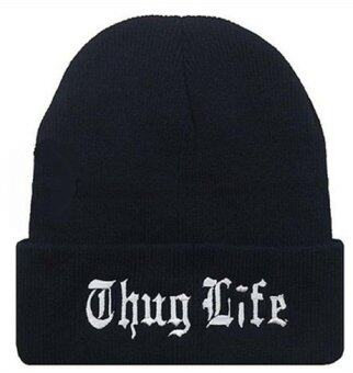 Harga Winter Warm Knit Thug Life Beanie Hat for Men and Women Winter Cap Skully Letter Beanie Black Free - intl