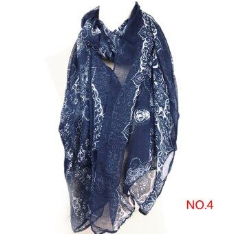 Harga Girls Long Neck Scarf Warm Wrap Scarves Shawl Voile+Line Blue X