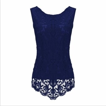 Harga Summer Women's Lady Fashion Lace Blouse Peplum Pleated Tops S-5XL C160 Dark Blue - intl