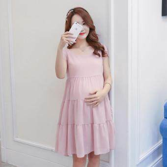 Harga Small Wow Maternity Fashion Round Solid Color chiffon Above Knee Dress Pink - intl