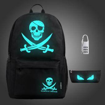 Harga 3PCS/SET Glow in the Dark Night Light School Bag Travel Luminous Backpack (Big Pirate)