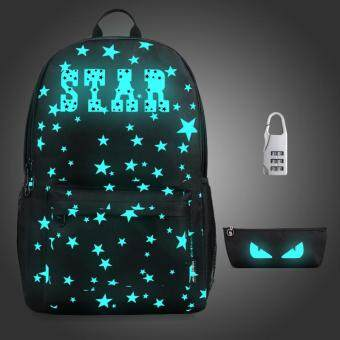 Harga 3PCS/SET Glow in the Dark Night Light School Bag Travel Luminous Backpack (Big Star) - intl