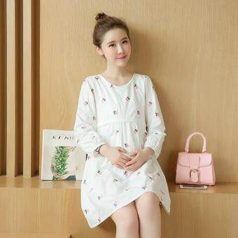 Harga Small Wow Maternity Daily Round Print Cotton Loose Above Knee Dress Pink - intl