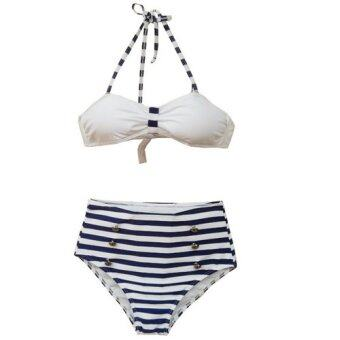 Harga Venus queen Women's Stripe Push-Up Bra Vintage Sexy Plus Size High Waist Summer Neoprene Bikini Set Swimsuit Swimwear Beachwear
