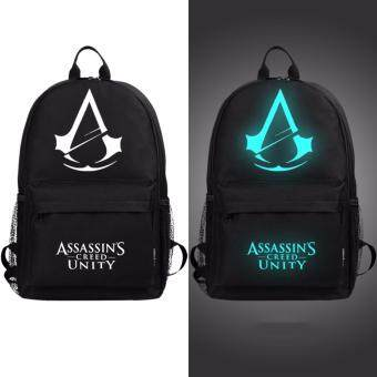 Harga Men Women Luminous Travel Backpack Shoulder Bag Light Canvas Student Bag Cartoon Assassin Big - intl