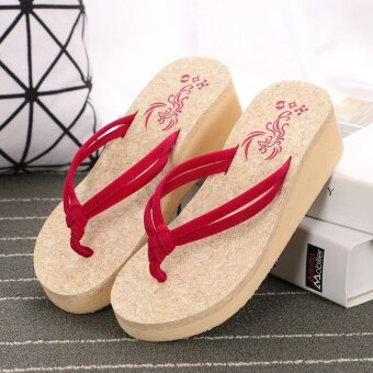 Harga Hot Sale Ladies Pinch Pure Cool Slippers Summer Beach Shoes Fashion Wedges Platform Shoes Anti-Slip Clip Drag Thick Bottom Flip Flops - Red - intl
