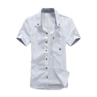 Harga Amart Summer Men Casual Shirts Short Sleeves Mushroom Embroidery Fashion Tops(White) - intl