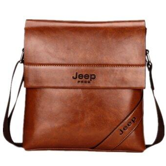 Harga Men's Cowhide Leather Business Bag Men Tote Casual Vertical Inclined Shoulder Bag Small Bag Briefcase. (Coffee)