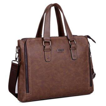 Harga Jeep Tote Bag Shoulder Messenger Laptop Briefcase Crossbody Handbag Retro Computer Men Bag For Ipad (Coffee)