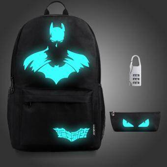 Harga 3PCS/SET Glow in the Dark Night Light School Bag Travel Luminous Backpack (Big Batman) - intl