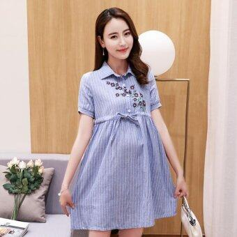 Harga Small Wow Maternity Fashion Turn-down Collar Print Cotton Above Knee Dress Blue - intl