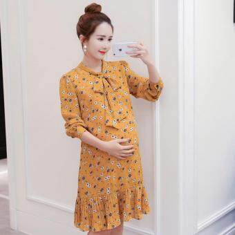 Harga Small Wow Maternity Korean Stand Neck Print chiffon Above Knee Dress Yellow - intl
