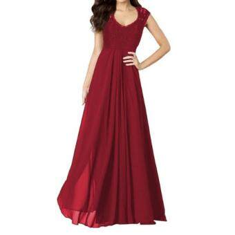 Harga Small wow Women's Sleeveless Sexy Stitching Contrast Color Slim Lace Maxi Dresses Red - intl