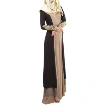 Harga Gracefulvara Women Lady Muslim Church Maxi Long Robe Muslimah Long Sleeve Maxi Dress (Coffee)