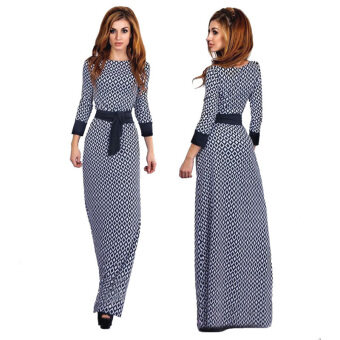 Harga Women long sleeve maxi dress arab Middle East Muslim garment abaya plaid high waist wrap dress