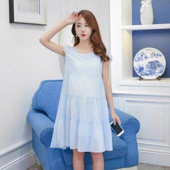 Harga Small Wow Maternity Fashion Round Solid Color chiffon Above Knee Dress Blue - intl