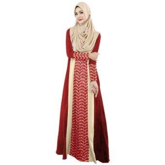 Harga New Fashion Women Muslim Maxi Dress Contrast Color Pitches Long Sleeve Abaya Kaftan Islamic Indonesia Robe Long Dress Red - intl