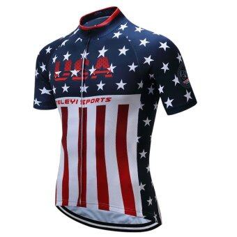 Harga Pro-quality Sport Bike Team Racing Cycling Jersey Tops Summer Bicycle Cycling Clothing Breathable MTB Bike Jersey Shirt (Blue) - intl