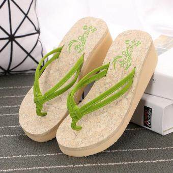 Harga Summer Fashion Wedges Platform Shoes Anti Slip Clip Drag Thick Bottom Flip Flops Ladies Beach Shoes Pinch Pure Cool Slippers- Green - intl