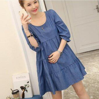Harga Small Wow Maternity Casual Round Solid Color Cotton Above Knee Dress Dark Blue - intl